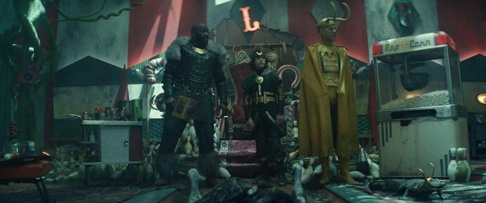 """The """"Loki"""" bowling alley set within the Void is full of Easter eggs. - Credit: Courtesy of Marvel Studios"""