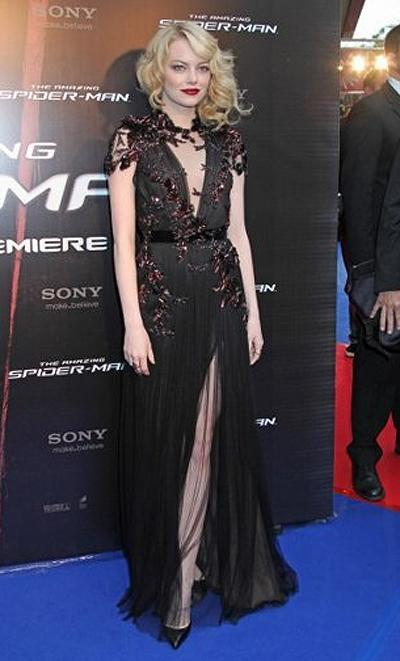 <p><b>Emma Stone</b></p> <p>Emma Stone sported a wicked, wine-stained grin on par with the gothic edge of her darkly gilded, sheer black Gucci dress at the Paris premiere of <em>The Amazing Spider-Man</em>. This was no next-door neighbour friendly Gwen Stacey, but rather a cheeky wink at her upcoming role as a femme fatale in soon-to-be-released <em>Gangster Squad</em>.</p>