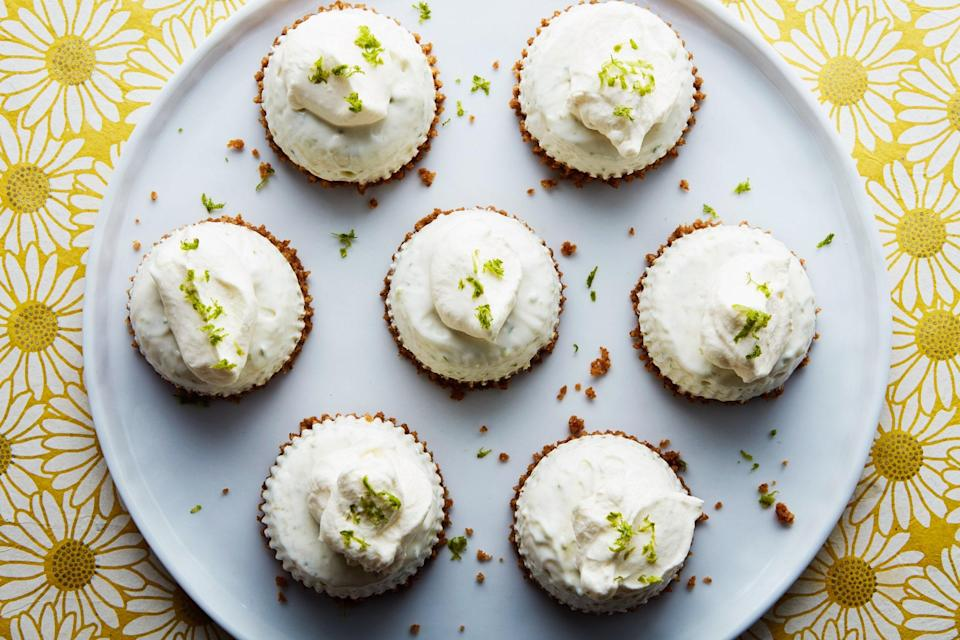 "Don't want to share your key lime pie? With these mini versions of the creamy, tangy dessert, you don't have to! <a href=""https://www.epicurious.com/recipes/food/views/mini-frozen-key-lime-pies?mbid=synd_yahoo_rss"" rel=""nofollow noopener"" target=""_blank"" data-ylk=""slk:See recipe."" class=""link rapid-noclick-resp"">See recipe.</a>"