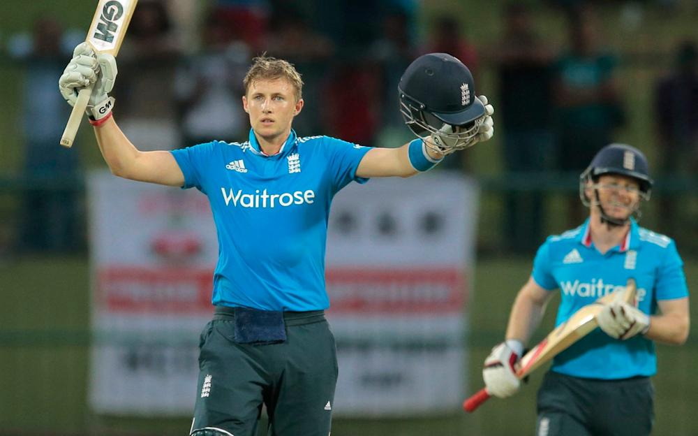 England's Test and ODI skippers Joe Root and Eoin Morgan bat together in Pallekele, Sri Lanka - Credit: AP