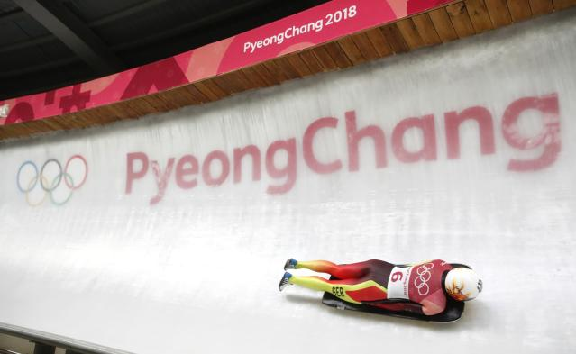 Pyeongchang 2018 Winter Olympics Skeleton - Pyeongchang 2018 Winter Olympics - Women's Finals - Olympic Sliding Centre - Pyeongchang, South Korea - February 17, 2018 - Janine Flock of Austria competes. REUTERS/Arnd Wiegmann