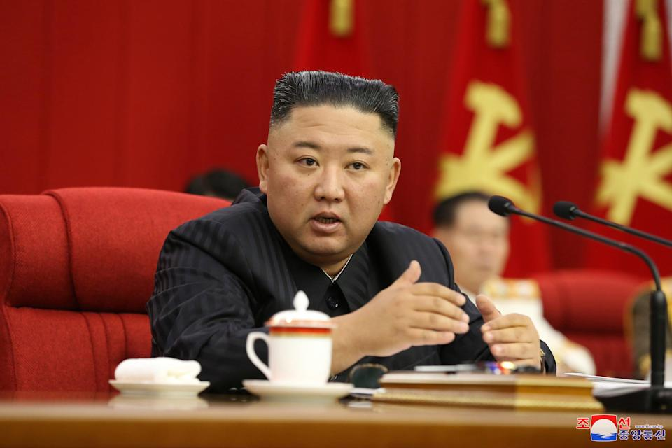 Kim Jong-un speaks on 17 June during the third day of the 3rd Plenary Meeting of the 8th Central Committee of the Workers' Party of Korea (WPK) in Pyongyang (EPA)