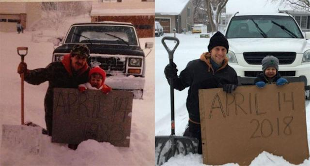The Brown family is going viral for recreating a 35-year-old photo. (Photos: Aaron Brown via Twitter)