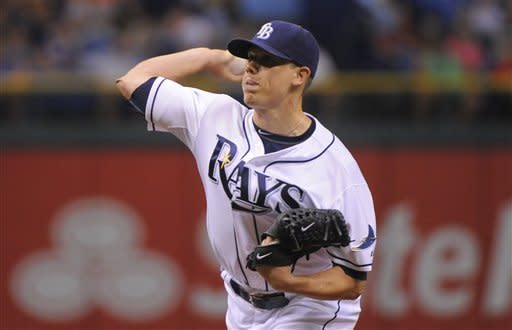 Tampa Bay Rays starting pitcher Jeremy Hellickson delivers to the Baltimore Orioles during the first inning of a baseball game on Saturday, Aug. 4, 2012, in St. Petersburg, Fla. (AP Photo/Brian Blanco)