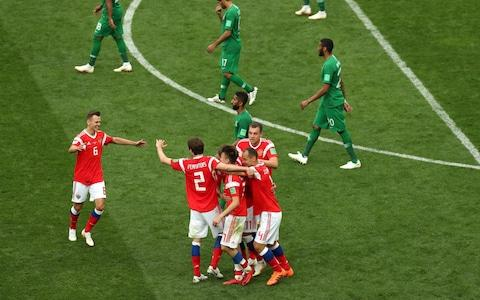 Russia celebrate - Credit: Getty Images