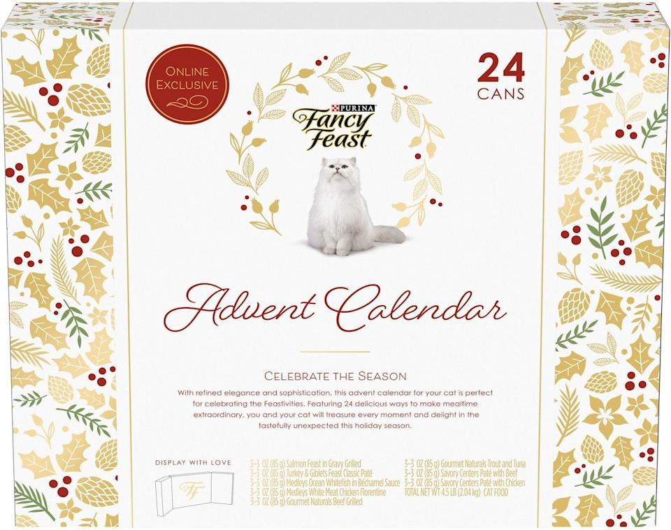 "<h3>Fancy Feast The Feastivities Advent Calendar</h3><br>Hey all you cool cats and kittens! Fancy Feast has you covered this holiday with 24 delectable cans of wet food sure to delight any feline.<br><br><strong>Fancy Feast</strong> The Feastivities Advent Calendar, $, available at <a href=""https://go.skimresources.com/?id=30283X879131&url=https%3A%2F%2Fwww.chewy.com%2Ffancy-feast-feastivites-advent%2Fdp%2F259629"" rel=""nofollow noopener"" target=""_blank"" data-ylk=""slk:Chewy"" class=""link rapid-noclick-resp"">Chewy</a>"