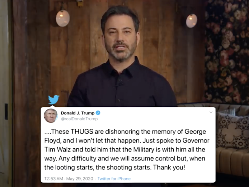 Jimmy Kimmel discusses Trump's 'looting and shooting' tweet on his US talk show: ABC Television