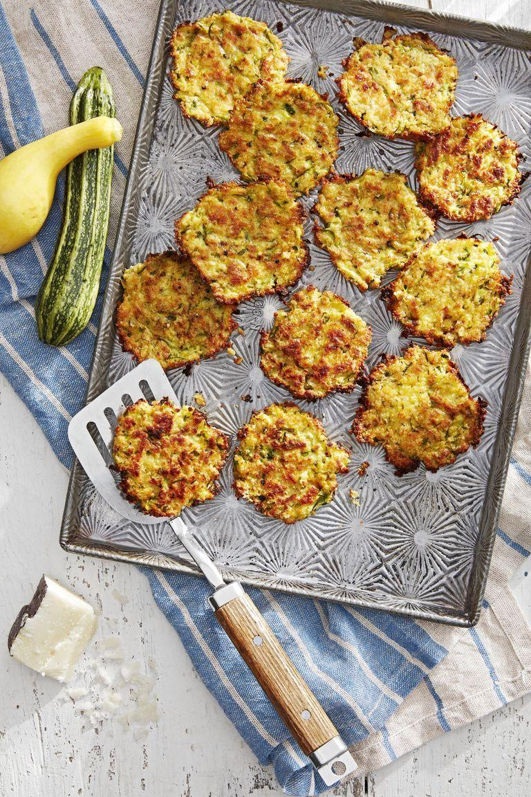 """<p>You don't even have to mess with hot oil to whip up these cheese-filled fritters. They're actually baked to crispy perfection in the oven.</p><p><strong><a href=""""https://www.countryliving.com/food-drinks/a28610429/zucchini-and-pecorino-fritters-recipe/"""" rel=""""nofollow noopener"""" target=""""_blank"""" data-ylk=""""slk:Get the recipe"""" class=""""link rapid-noclick-resp"""">Get the recipe</a>.</strong> </p>"""