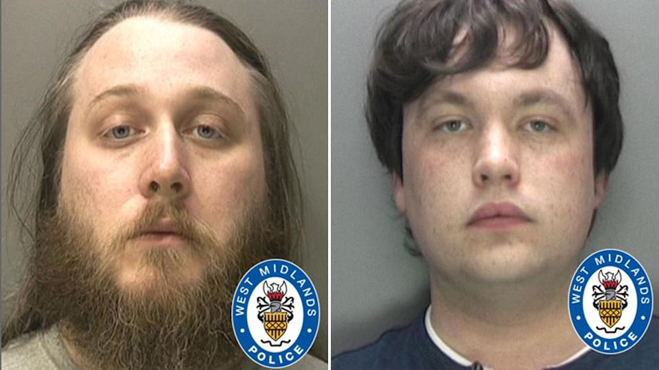 Nathan Maynard-Ellis (left) and his partner David Leesley were arrested following the run-in with police on the street. Source: West Midlands Police
