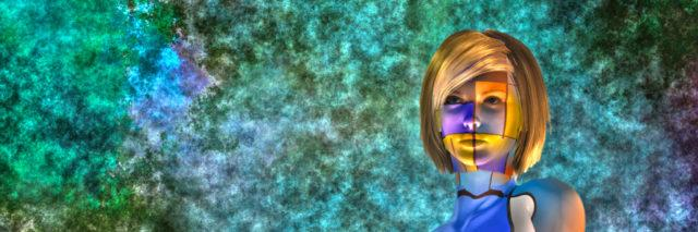 Woman colorful art.