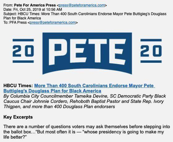 Councilmember Tameika Devine, Black Caucus chair Johnnie Cordero and Rep. Ivory Thigpen all said this press release touting their support for Pete Buttigieg's plan to help Black Americans misleadingly implies their support. (Photo: The Intercept)