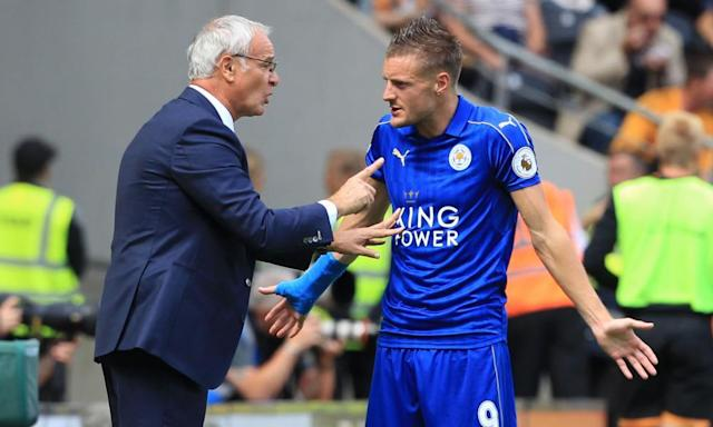 "<span class=""element-image__caption"">Jamie Vardy and Claudio Ranieri appear to be having a heated discussion as Leicester's form fell away this season. </span> <span class=""element-image__credit"">Photograph: Lindsey Parnaby/AFP/Getty Images</span>"