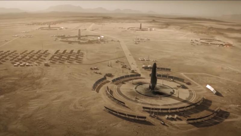 The future of energy on Mars is solar, going by this image of charging stations built by the early Martian colonists in season two. Image courtesy: National Geographic.