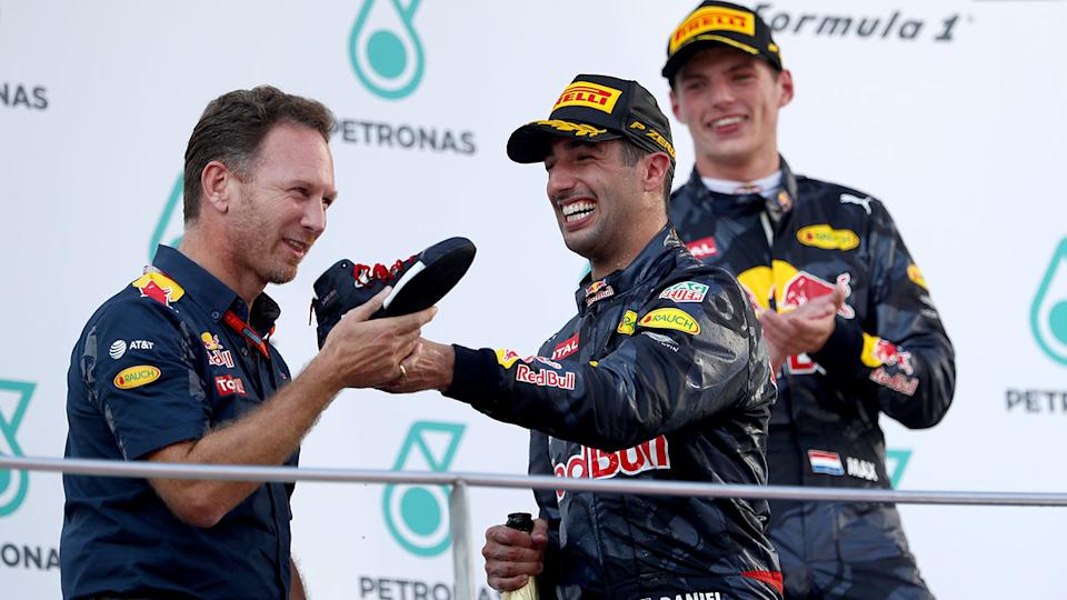 Christian Horner, Daniel Ricciardo and Max Verstappen, pictured here at the Malaysian Grand Prix in 2016.