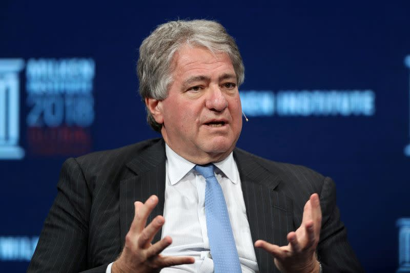 FILE PHOTO: Leon Black, Chairman, CEO and Director, Apollo Global Management, LLC, speaks at the Milken Institute's 21st Global Conference in Beverly Hills