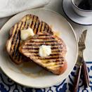 """Take vegetarian grilling to the breakfast table with French toast. Go for thick slices of an enriched bread like brioche or challah for the best texture—and feel free to top with your favorite grilled fruit. <a href=""""https://www.epicurious.com/recipes/food/views/grilled-vanilla-french-toast-51241430?mbid=synd_yahoo_rss"""" rel=""""nofollow noopener"""" target=""""_blank"""" data-ylk=""""slk:See recipe."""" class=""""link rapid-noclick-resp"""">See recipe.</a>"""