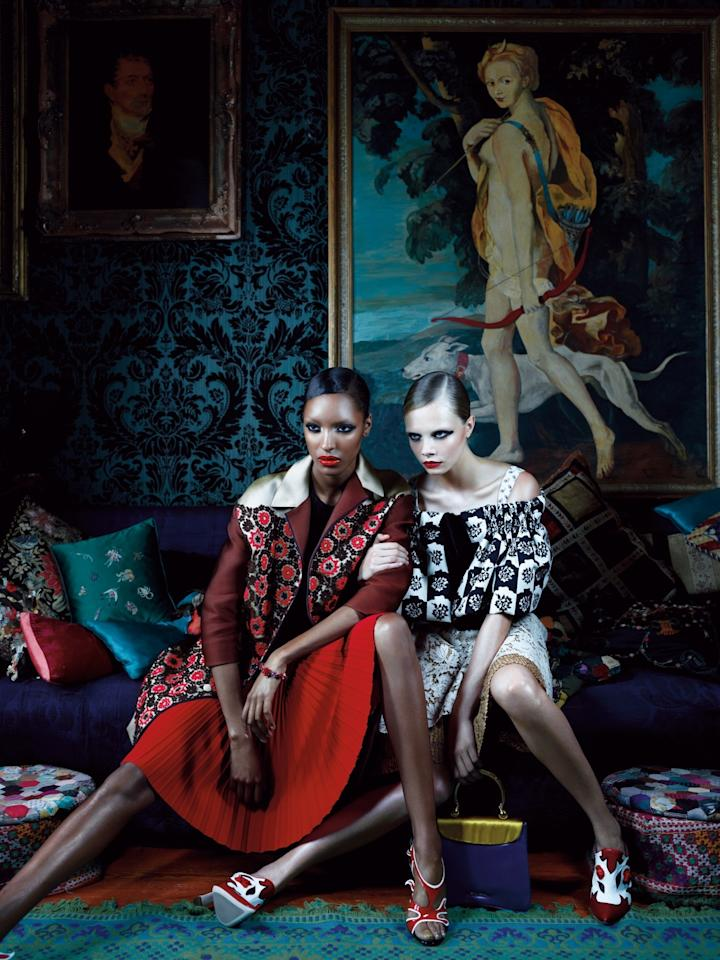 Jourdan Dunn and Cara Delevingne photographed by Emma Summerton for W Magazine, January 2012.