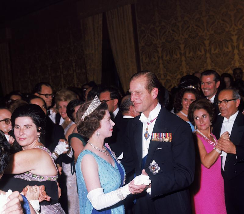 Queen Elizabeth II and Prince Philip, dancing at a state ball at the palace in Valletta during a royal visit to Malta, 16th November 1967.