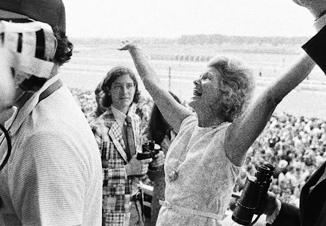 Penny Chenery reacts after Secretariat won the Triple Crown in 1973. (AP)
