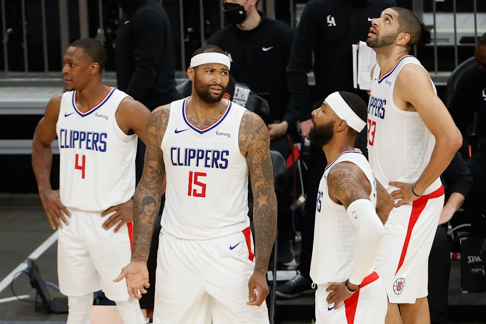 Rajon Rondo (4), DeMarcus Cousins (15), Marcus Morris Sr. (8) and Nicolas Batum (33) of the Clippers will try to avoid another 0-2 start to a series. (Photo by Christian Petersen/Getty Images)