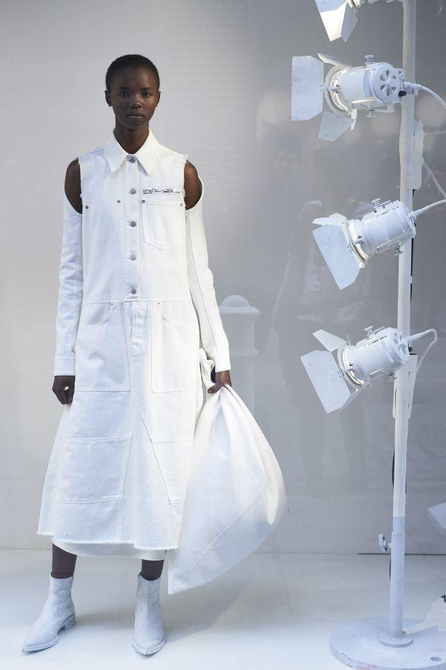 A pristine white creation from Maison Margiela - London Fashion Week