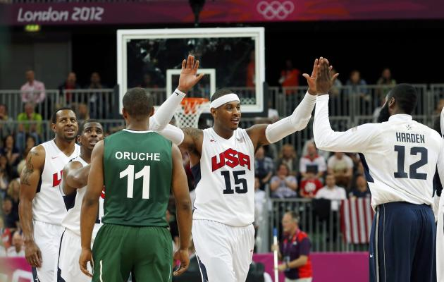 Carmelo Anthony (15) and the United States beat Nigeria by 83 points in the most lopsided Olympic game of all time (Reuters)