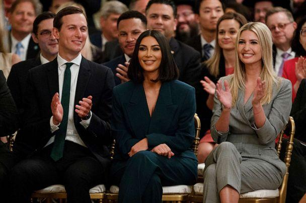 PHOTO: White House senior adviser Jared Kushner, left, and Ivanka Trump applaud as Kim Kardashian West is introduced during an event in the East Room of the White House, June 13, 2019, in Washington, D.C. (Evan Vucci/AP)