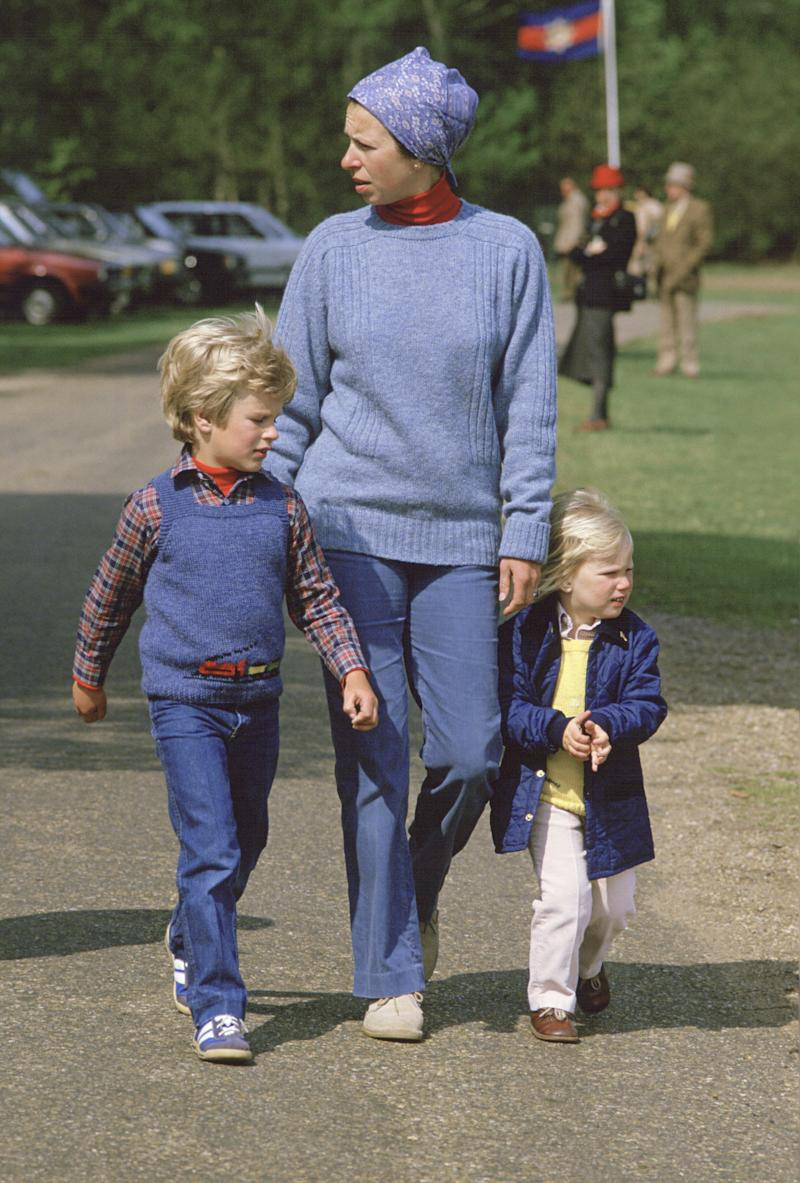Princess Anne with her children Peter and Zara At the Royal Windsor Horse Show, May 1984.