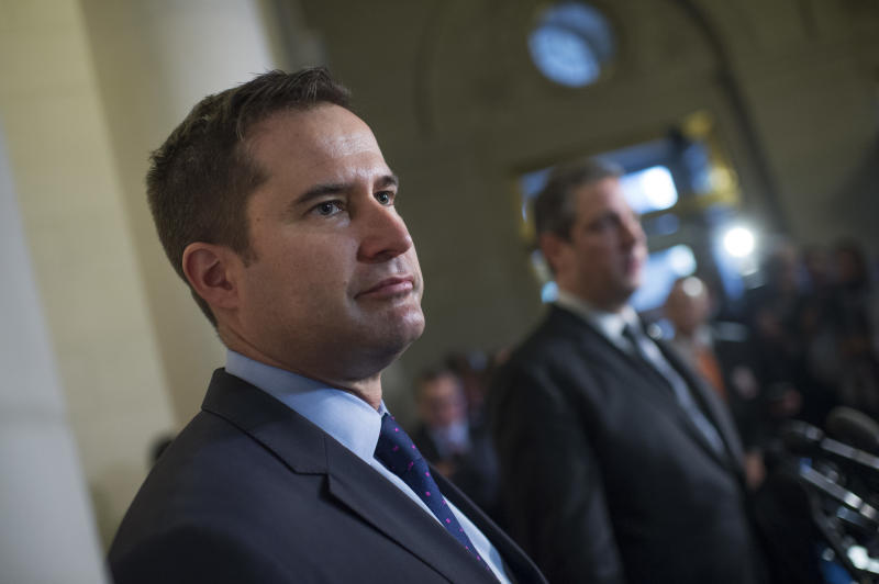 Rep. Seth Moulton (D-Mass.), left, appears with Rep. Tim Ryan (D-Ohio) after Ryan lost the race for Democratic leader to Pelosi after the 2016 election. (Tom Williams via Getty Images)
