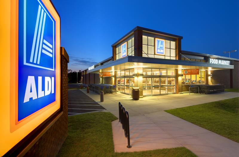 Athens, Georgia, USA - May 8, 2012: Aldi Food Market is a German-based discount supermarket chain which currently operates more than 1,150 stores in the U.S. and about 8,133 worldwide.