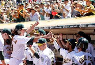 Jeff Samardzija's debut in Oakland: 7IP, 4H, 5Ks, 1 BB, 1 ER and 1 W. (Getty Images)