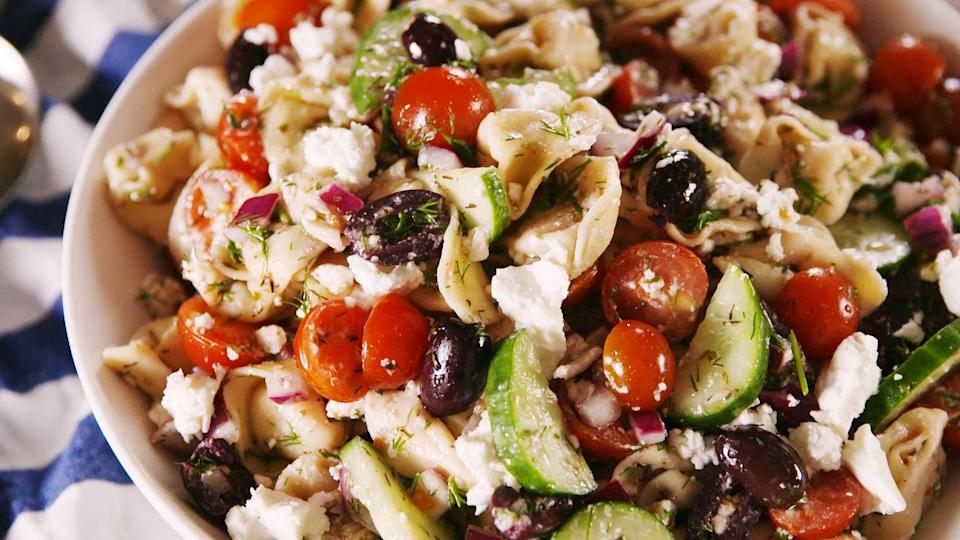 """<p>One thing's for sure, everyone will demand seconds.</p><p>Get the <a href=""""https://www.delish.com/uk/cooking/recipes/a34709768/greek-tortellini-salad-recipe/"""" rel=""""nofollow noopener"""" target=""""_blank"""" data-ylk=""""slk:Greek Tortellini Salad"""" class=""""link rapid-noclick-resp"""">Greek Tortellini Salad</a> recipe. </p>"""