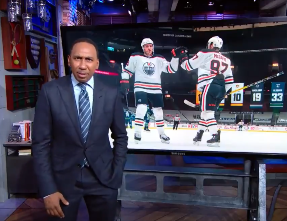 Top ESPN personality Stephen A. Smith had some words for Connor McDavid and the Edmonton Oilers after they were swept (SWEPT!) by the Jets. (Twitter/@stephenasmith)