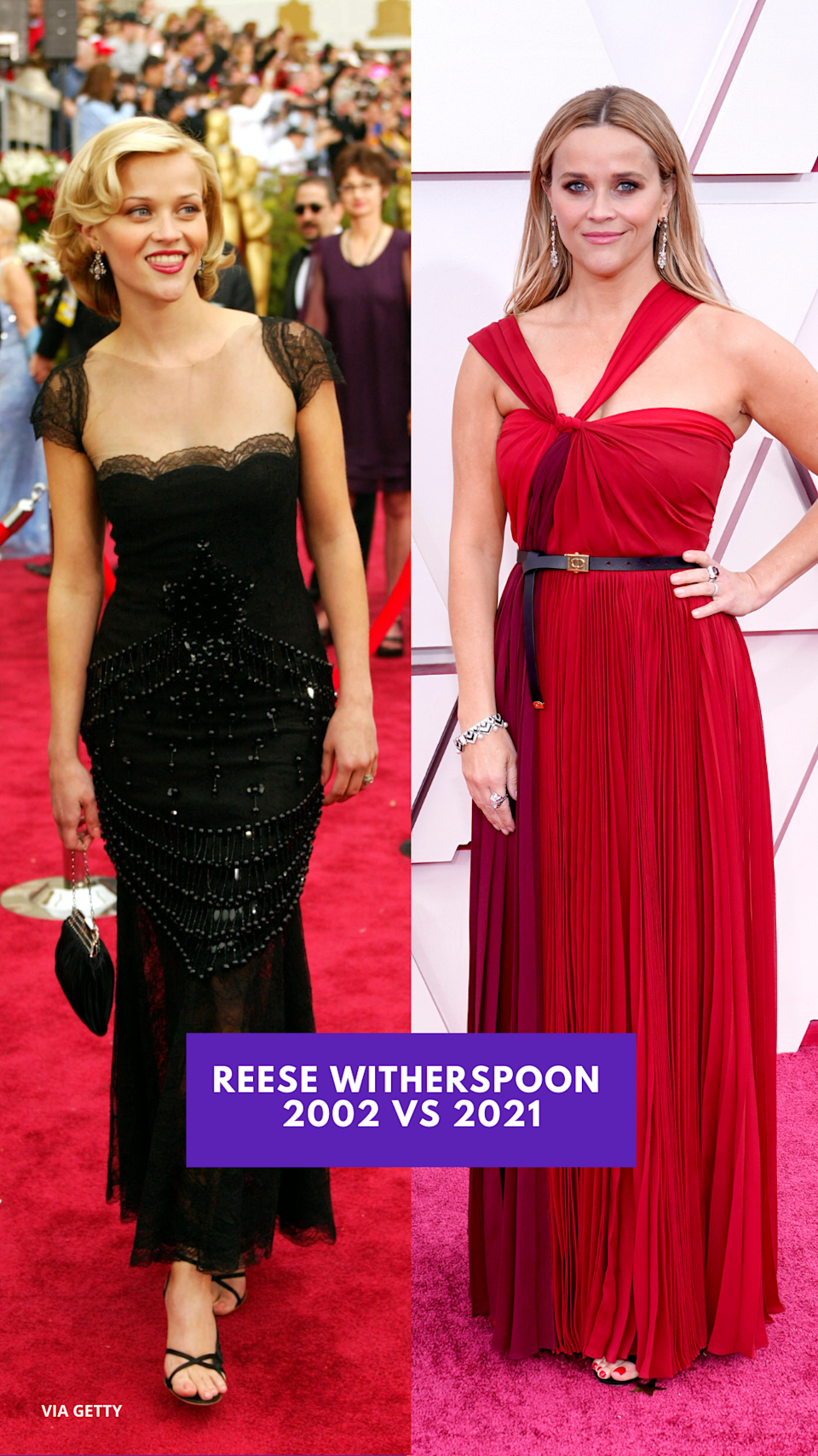 REESE WITHERSPOON (2002 vs 2021) 奧斯卡紅地毯今昔對比