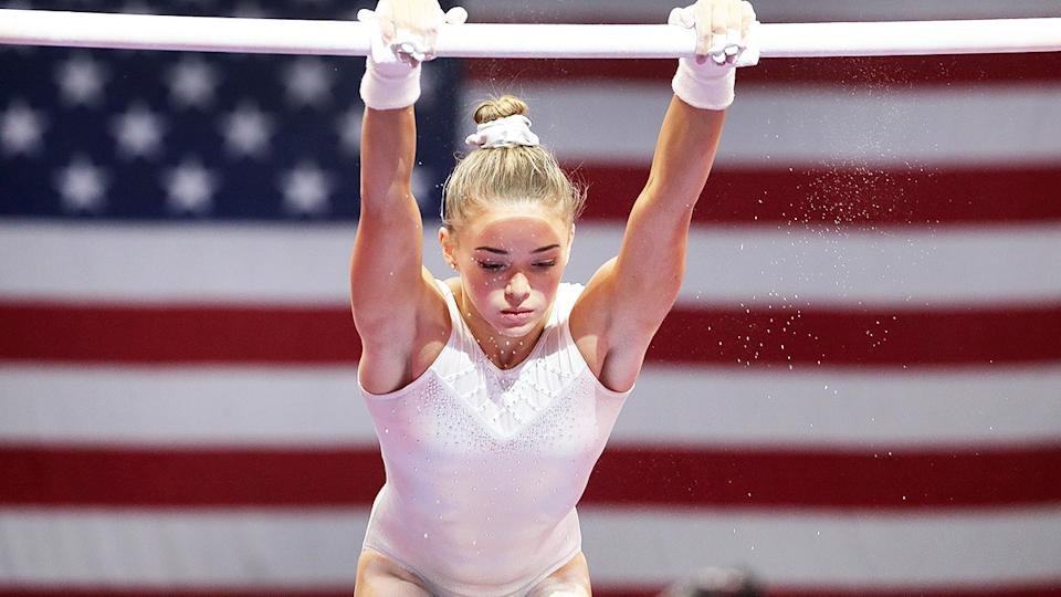 Olivia Dunne, pictured here at the US Gymnastics Championships in 2018.