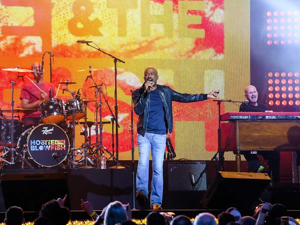 "<p><strong>Hootie & the Blowfish </strong></p><p>Formed in Columbia, South Carolina, Hootie & the Blowfish is the quartet of Darius Rucker, Mark Bryan, Dean Felber and Jim Sonefeld. After going on a hiatus for fourteen years, the group dropped a new album, <em>Imperfect Circle</em> in 2019. Darius has done some solo stuff —does the Summer of ""Wagon Wheel"" mean anything to you? *Puts on cowboy hat*</p>"