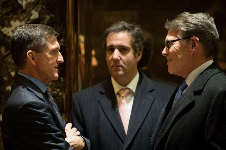 Michael Cohen, center, at Trump Tower. (Photo: Drew Angerer/Getty Images)