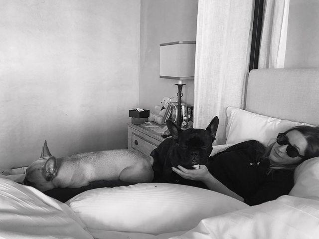 """<p>Asia was Gaga's main squeeze for a """"Wednesday Friendsday"""" pic. The black French bulldog is so famous, she even <a href=""""https://people.com/pets/lady-gagas-dog-launches-coach-campaign-and-its-paw-fect/"""" rel=""""nofollow noopener"""" target=""""_blank"""" data-ylk=""""slk:modeled for Coach in 2015"""" class=""""link rapid-noclick-resp"""">modeled for Coach in 2015</a>.</p>"""