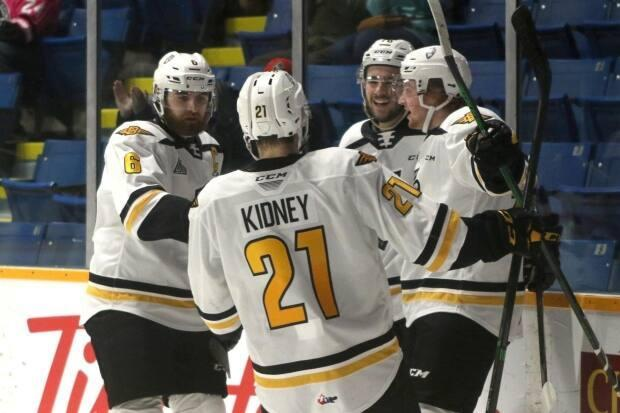 Liam Kidney celebrates a recent goal with his Cape Breton Eagles teammates. The Eagles are the only team in the QMJHL's Maritimes division currently allowed to play games.