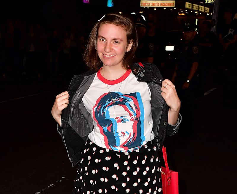 """Lena Dunham and her friend rocked these fabulous """"VOTE"""" barrettes and now we want them"""