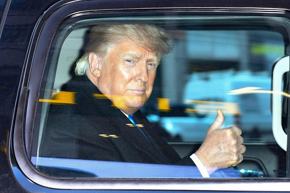 Former U.S. President Donald Trump leaves the Trump Tower in Manhattan on March 9, 2021 in New York City