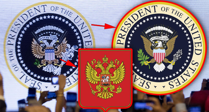In this photo combination, the background photo shows an altered presidential seal displayed as President Donald Trump takes the stage at Turning Point USA Teen Student Action Summit; center is the Russian coat-of-arms and right, the official seal of the President of the United States. (Photos: Andrew Harnik/AP, AP(2))