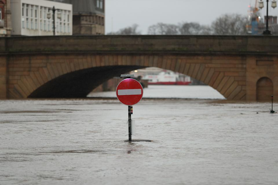 Floodwaters in York, in anticipation of Storm Christoph which is set to bring further flooding, gales and snow to parts of the UK (Photo: Danny Lawson - PA Images via Getty Images)