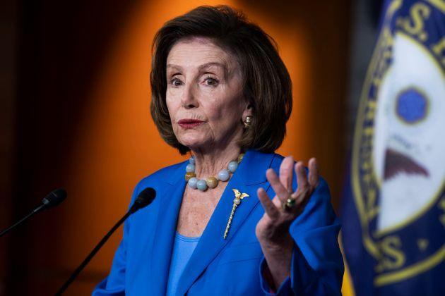 Speaker of the House Nancy Pelosi (D-Calif.) conducts her weekly news conference in the Capitol Visitor Center where she discussed the House vote on debt ceiling on Oct. 12. (Photo: Tom Williams via Getty Images)