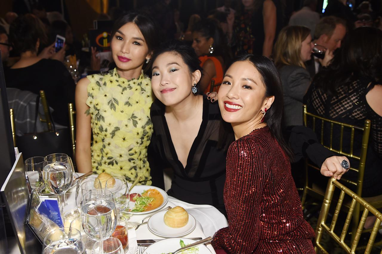 Gemma Chan, Awkwafina and Constance Wu attend The National Board of Review Annual Awards Gala at Cipriani 42nd Street on January 8, 2019 in New York City.
