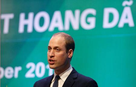 Britain's Prince William speaks at the Conference on illegal wildlife trade in Hanoi, Vietnam November 17, 2016. REUTERS/Kham