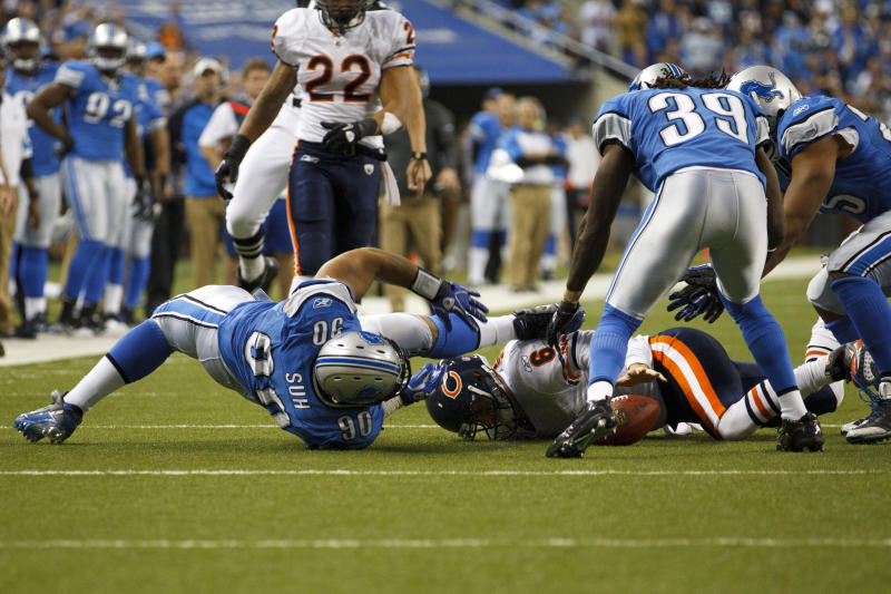 Detroit Lions defensive tackle Ndamukong Suh (90) is called for unnecessary roughness on Chicago Bears quarterback Jay Cutler (6) late in the second half of the NFL football game in Detroit, Sunday , Dec. 5, 2010. Chicago won 24-20. (AP Photo/Rick Osentoski)