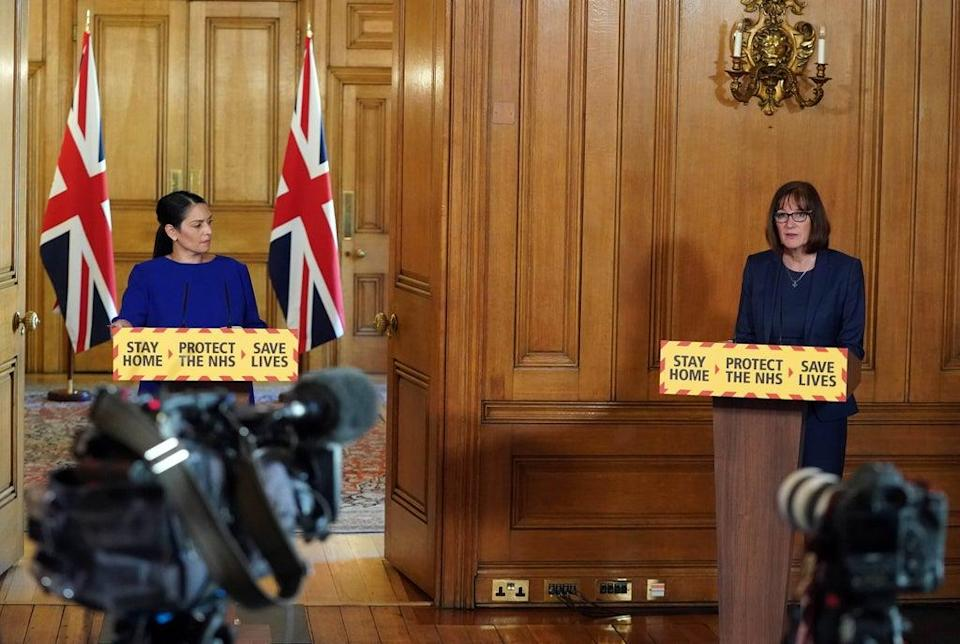 Home Secretary Priti Patel (left) has said she was 'deeply saddened' by the news (Pippa Fowles/10 Downing Street/Crown Copyright/PA) (PA Media)