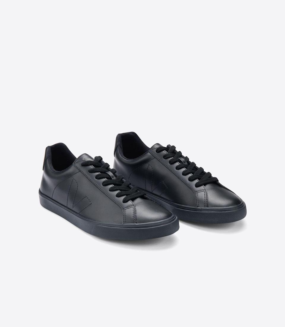 """<p>veja-store.com</p><p><strong>$120.00</strong></p><p><a href=""""https://www.veja-store.com/en_us/esplar-leather-full-black-ea022334.html"""" rel=""""nofollow noopener"""" target=""""_blank"""" data-ylk=""""slk:BUY IT HERE"""" class=""""link rapid-noclick-resp"""">BUY IT HERE</a></p><p>By now you're probably well-aware of celebrity favorite and ethically-made sneaker brand Veja. In this all-black version, their classic style gets the luxury treatment. This sleek design will compliment any look, casual or dressy. </p>"""
