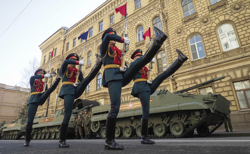 Honour guard soldiers train prior to the Victory Day military parade at Dvortsovaya (Palace) Square in St. Petersburg, Russia, Sunday, May 9, 2021, marking the 76th anniversary of the end of World War II in Europe. (AP Photo/Dmitri Lovetsky)